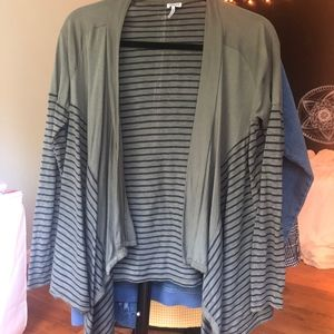 Hunter Green & navy striped buttery soft cardigan